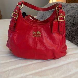 Red coach shoulder bag. Genuine leather.